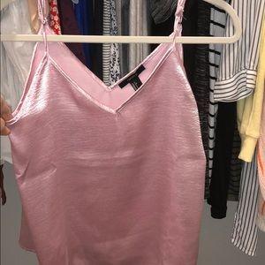 Pink silk tank top